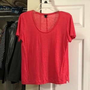 Pink/coral Ann Taylor Linen Tee